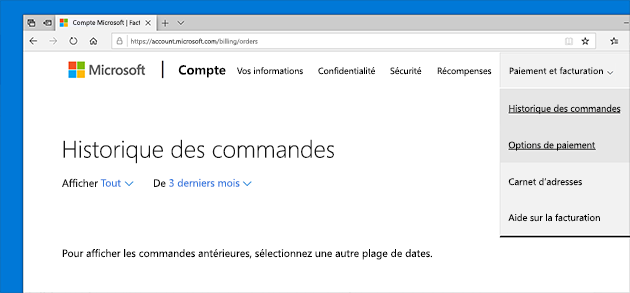 Vérifier l'historique de vos commandes dans votre compte Microsoft