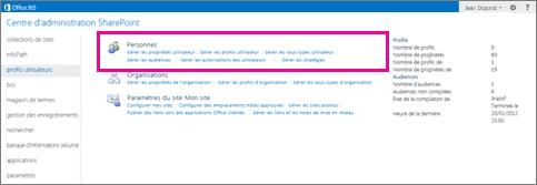 Capture d'écran du Centre d'administration SharePoint Online avec la page des profils utilisateurs sélectionnée.