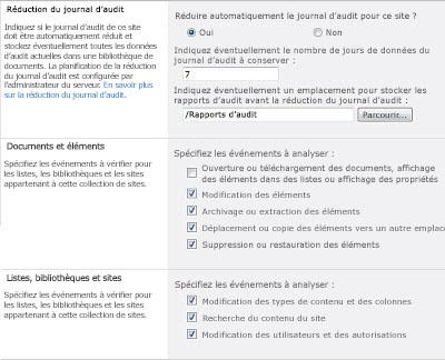 Page Configurer les paramètres d'audit