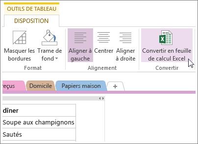 Convertir une page OneNote en feuille de calcul Excel