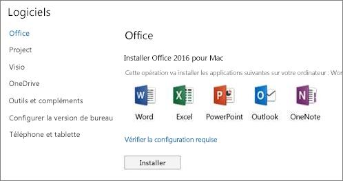 Écran d'installation des logiciels dans les paramètres d'Office365 sur un Mac