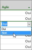 Capture d'écran montrant la modification d'Oui à non dans la colonne Agile dans la vue de diagramme de Gantt