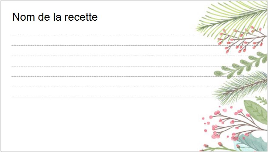 Image d'une carte de recette sur le thème de Noël
