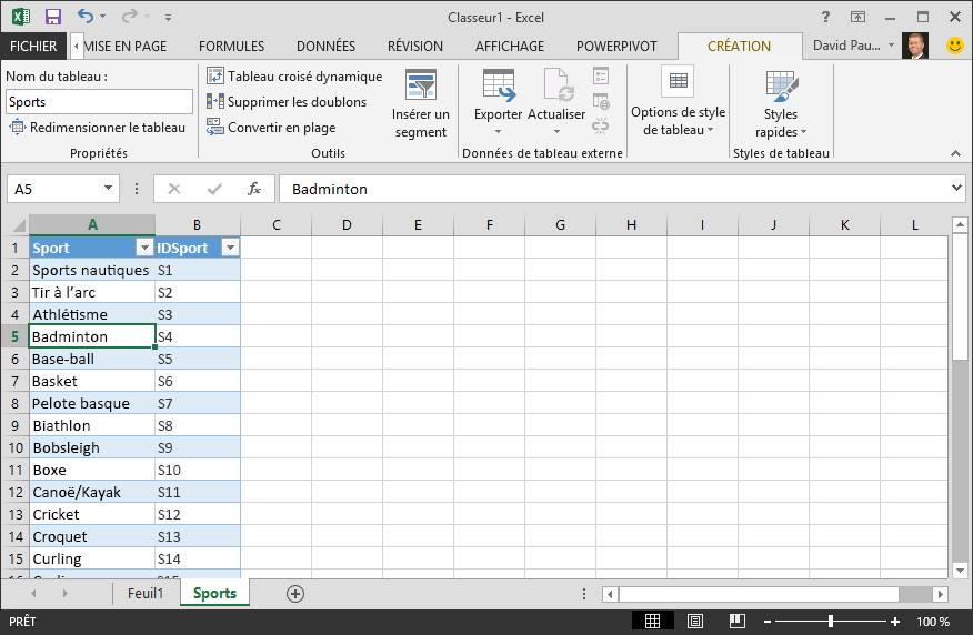 Nommer un tableau dans Excel