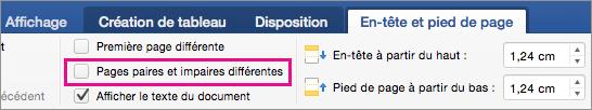 L'option Pages paires et impaires différentes est mise en évidence dans l'onglet En-têtes et pieds de page