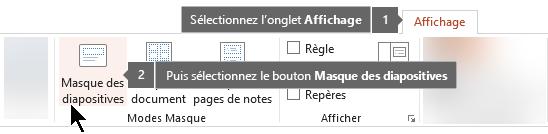 Utilisez l'onglet Affichage dans PowerPoint pour passer en mode Affichage des diapositives principales