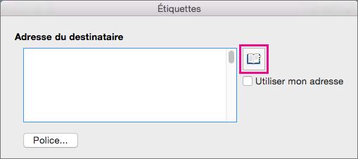 Cliquez sur l'icône Insérer une adresse pour sélectionner une adresse dans votre liste de contacts.
