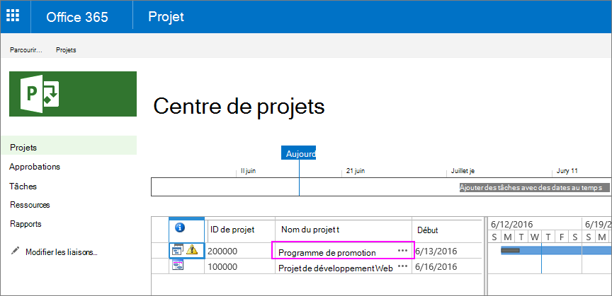Dans le centre de projets, sélectionnez le nom du projet auquel appartient l'instruction Scope.