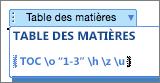 Si vous activez l'affichage des codes de champ, vous pouvez modifier les paramètres directement.