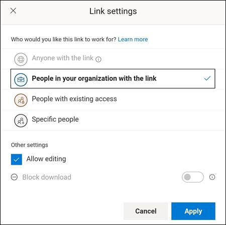 Sélectionner les personnes autorisées à accéder à un fichier, en autorisant la modification ou en bloquant les téléchargements.