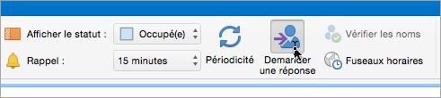 Capture d'écran du bouton Demander une réponse dans Outlook2016 pour Mac
