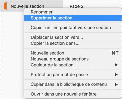 Menu contextuel Section sur Mac avec l'option Supprimer la section mise en évidence