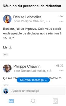 Nouvelle expérience de conversation dans Outlook pour iOS