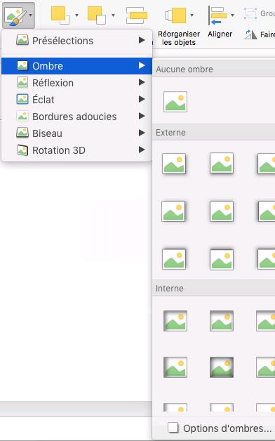 Options d'ombre dans le menu Effets d'image