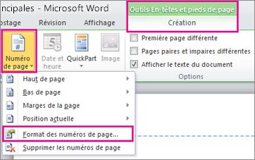 Format des numéros de page