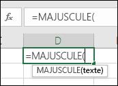 Capture d'écran de la barre d'outils des références aux fonctions