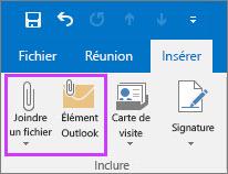 Sous l'onglet Fichier, cliquez sur Joindre un fichier ou Élément de message