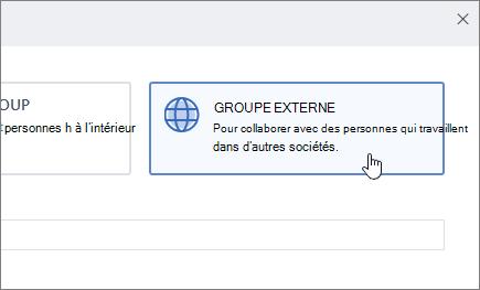 Capture d'écran illustrant la créer un écran de groupe dans Yammer avec groupe externe sélectionné.