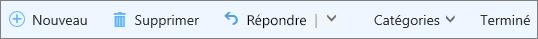 Barre de commandes d'Outlook.com pour le courrier électronique avec indicateur dans le dossier Tâches et éléments avec indicateur