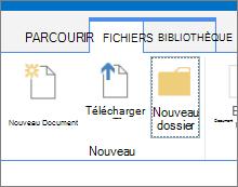 L'onglet fichiers dans le ruban avec le bouton Nouveau dossier en surbrillance