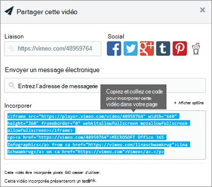 Exemple d'utilisation du code à incorporer du contenu dans SharePoint page intégré