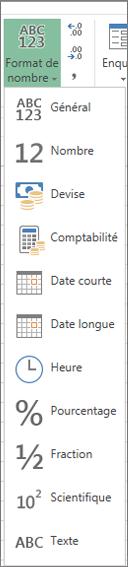 Formats de nombres disponibles