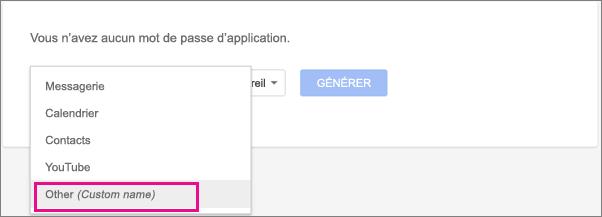Sélectionnez Autre (nom personnalisé) dans la liste déroulante Sélectionner une application