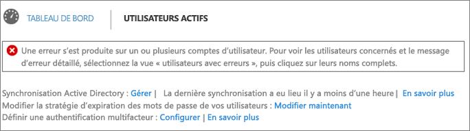 Déclaration d'erreur de synchronisation d'annuaires en haut de la page Utilisateurs actifs
