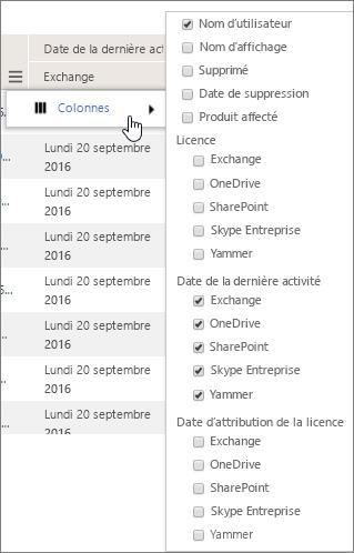 Options de filtrage au niveau des utilisateurs