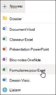 Option Insérer un formulaire pour Excel d'Excel pour le Web