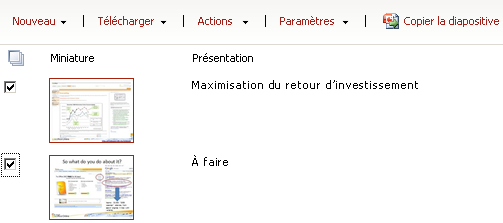 Exemple de bibliothèque de diapositives