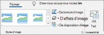 Bouton texte de remplacement dans le ruban d'Outlook sur Windows.