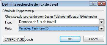 Recherche dans une variable de flux de travail intitulée ID d'élément de tâche