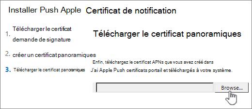 Cliquez sur le bouton Parcourir pour sélectionner le certificat APNS téléchargé depuis Apple