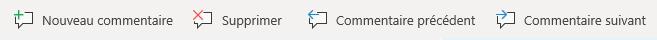 Les boutons de commentaire dans Windows Mobile: créer un nouveau commentaire, supprimer le commentaire en cours, accéder au commentaire précédent et accéder au commentaire suivant