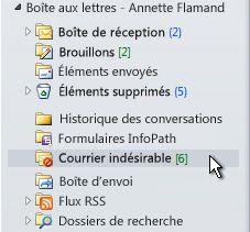 Dossier courrier indésirable sélectionné dans le volet de Navigation