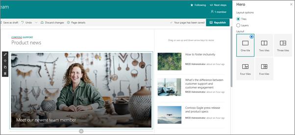 Site d'équipe avec un composant WebPart héros et un composant WebPart Actualités