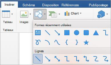 Sélection d'une ligne dans le menu de formes