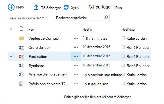 Boîte de dialogue de bibliothèque de documents sharepoint avec plusieurs fichiers qu'il contient.