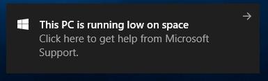L'espace disponible sur ce PC est faible