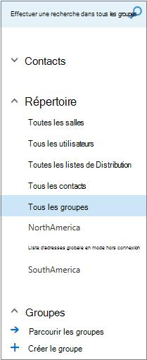 Dossiers et répertoires qui apparaissent lorsque vous parcourez les groupes dans le calendrier pour Outlook sur le web pour les clients professionnels
