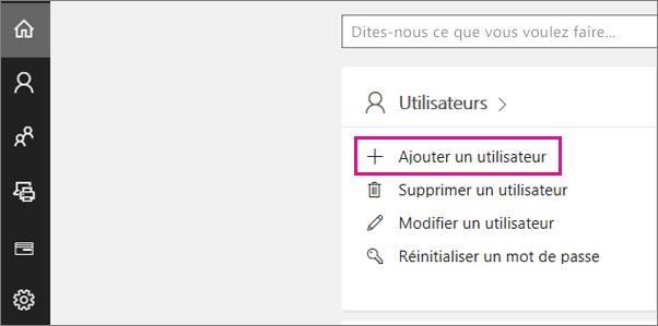 Dans la page d'accueil de la version Preview du Centre d'administration, sélectionnez Ajouter un utilisateur