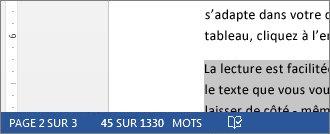 Barre d'état affichant le nombre de mots contenus dans un texte sélectionné