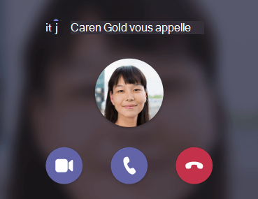 Teams notification d'appel entrant