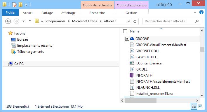 Recherche de Groove.exe dans Windows