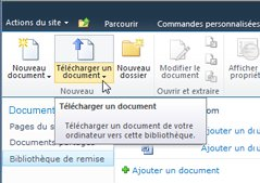Chargement de documents sur la bibliothèque de remise