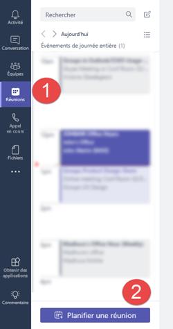 Sous l'onglet réunions, cliquez sur «Planifier une réunion» pour ajouter une réunion à votre calendrier
