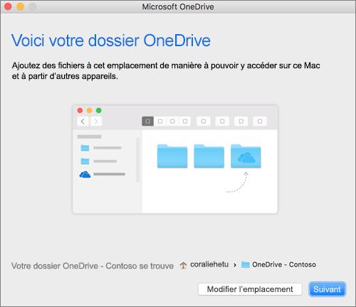 Capture de l'écran Voici votre dossier OneDrive après avoir sélectionné un dossier dans l'Assistant Bienvenue dans OneDrive sur Mac