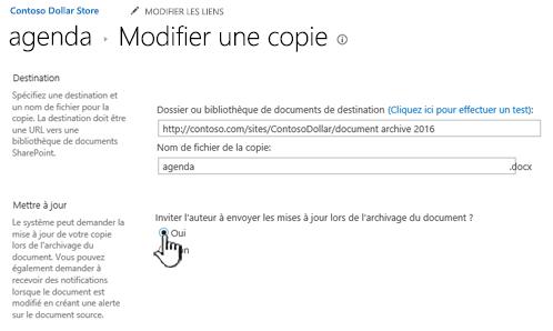 Cliquez sur Oui dans la section inviter l'auteur à envoyer des mises à jour lorsque le document est coché.