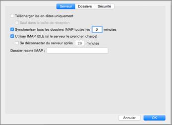 Paramètres serveur de compte IMAP dans Outlook2016 pour Mac
